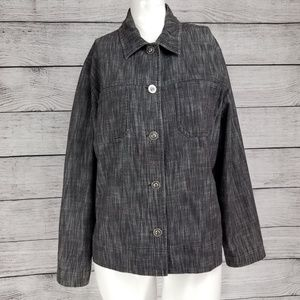 Chico's Design 1-M  Button Up Casual Denim Jacket